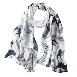 "PAICY Women's 100% Mulberry Silk Scarf, Beautiful Nature Prints (Charcoal grey), 69""x20"""