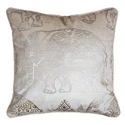 Homey Cozy Foil Applique Ivory Velvet Throw Pillow Cover,Gold Series Elephant Fuzzy Cozy Warm Sl ...