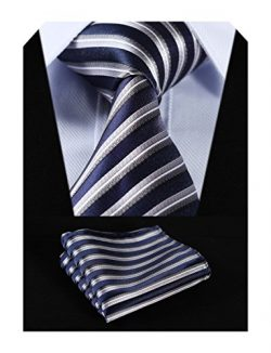 HISDERN Plaid Tie Handkerchief Woven Classic Stripe Men's Necktie & Pocket Square Set  ...