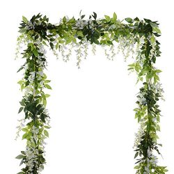 4Pcs 6.6Ft/piece Artificial Flowers Silk Wisteria Garland-Dearhouse Artificial Wisteria Vine Rat ...