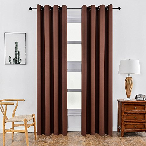 KEQIAOSUOCAI Faux Silk 99.99% Blackout Darkening Curtains Window Panel Drapes-1 Panel,Chocolate, ...
