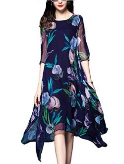 Honwenle Women's Summer Silk Dress Vintage Round Neck Half Sleeve Floral Print Hollow Out  ...