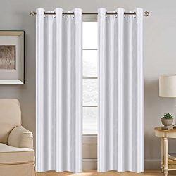 Energy Smart Saving White Curtain Window Treatment Solid Grommet Top Faux Silk Curtain Natural E ...