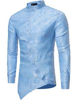 Modfine Men's Long Sleeve Printed Silk Dress Shirt Dance Prom Party Button Down Fashion Sh ...