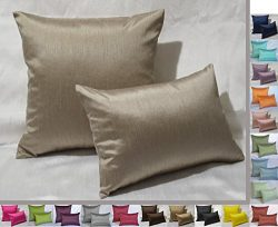 Creative 12″x18″ Solid Faux Silk Decorative Throw Pillow With Zipper – Sand