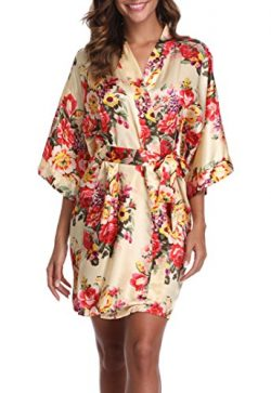 1stmall Floral Satin Kimono Short Style Bridesmaids Robes For Women, Yellow S
