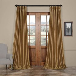 Half Price Drapes PDCH-KBS8-108 Vintage Textured Faux Dupioni Silk Curtain, 50 x 108,  Flax Gold