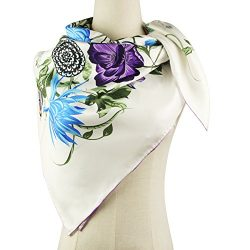 Silk Scarf Luxurious Square Scarf-Pantonight 100% Pure Silk 14MM Hand Rolling Edge Silk Twill Sc ...