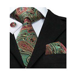 Hi-Tie Green Paisley Tie Woven Silk Necktie Handkerchief Cufflinks Set For Men