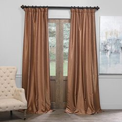 Half Price Drapes PDCH-KBS8BO-108 Blackout Vintage Textured Faux Dupioni Curtain, Flax Gold, 50  ...