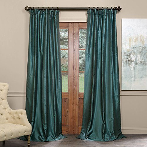 Half Price Drapes PDCH-KBS14BO-96 Blackout Vintage Textured Faux Dupioni Curtain, Peacock, 50 X 96