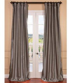 Half Price Drapes PTCH-BO112-84 Blackout Faux Silk Taffeta Curtain, Platinum
