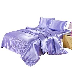 Hotel Quality Solid Lilac/Lavender Duvet Cover Set King Size Silk Like Satin Bedding with Hidden ...
