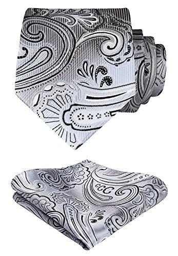 HISDERN Paisley Tie Handkerchief Woven Classic Men's Necktie & Pocket Square Set (Gray ...