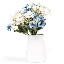 EPCTEK 5 Bunch 30 Head Fake Artificial Flowers Bouquet Daisy Silk Flower Home Wedding Patty Offi ...