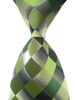 Secdtie Men's Classic Checks Dark Blue Grey Jacquard Woven Silk Tie Necktie (One Size, Green)