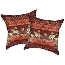 Red Wine Thai Elephant Sun Stripes Silk Throw Pillow Cushion Cover Set (Red)