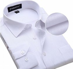 Alion Men's Long Sleeve Formal Slim Pure Button Front Silk Dress Shirt 4 XL
