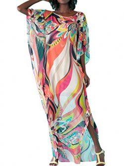 SuperMo Women Artistic colorful Floral Print Chiffon Beach Kaftan Smock Beach Dress (One Size, M ...