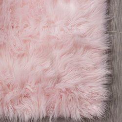Serene Super Soft Faux Sheepskin Shag Silky Rug Baby Nursery Childrens Room Rug Light Pink, 5&#8 ...