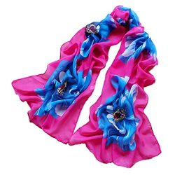 Silk Scarf,Han Shi Women Soft Chiffon Flower Printed Voile Wrap Shawl Muffler Stole (L, Hot Pink)