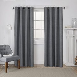 Exclusive Home Curtains London Thermal Textured Linen Grommet Top Window Curtain Panel Pair, Cha ...