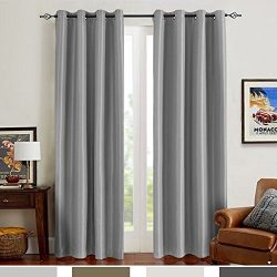 Grey Blackout Curtains for Bedroom Thermal Insulated Dupioni Antibacterial Faux Silk Window Curt ...