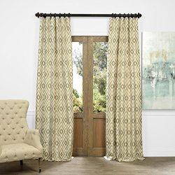 Half Price Drapes JQCH-AS225092-84 Faux Silk Jacquard Curtain, Dart Natural, 50″ x 84″
