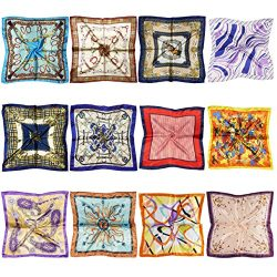 LilMents 12 Mixed Designs Small Square Satin Womens Neck Head Scarf Scarves Bundle Lot Set (Set H)