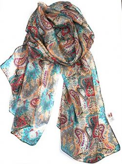 Z&HTrends Womens Genuine Silk Scarf (small, Passion Paisley)