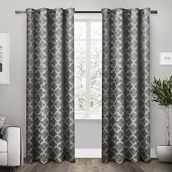 Exclusive Home Curtains Cartago Insulated Woven Blackout Grommet Top Window Curtain Panel Pair,  ...