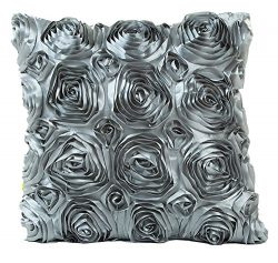 HomeTaste Silk Rose Decorative Throw Pillow Cover 3D Flower Cushion Shell