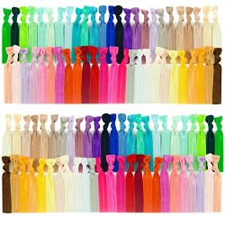 JLIKA Elastic Hair Ties (SET OF 100) Colorful Solids, No Crease Ouchless Ponytail Holders, Ribbo ...