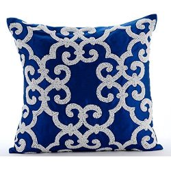 Designer Blue Accent Pillows, Arabic Pattern Beaded Pillows Cover, 16″x16″ Pillow Co ...