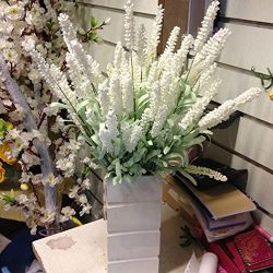 NPLE–Home Decoration Wedding Silk Flowers High Simulation 12 Heads Lavender Bouquet (White)