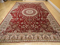 Stunning Silk Persian Area Rugs Traditional 7×10 Red Rugs Dining Room Area Rug 6×9 Red ...