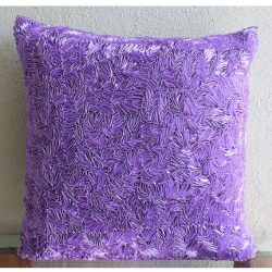 Luxury Purple Cushion Covers, Textured Ribbon Pillow Cover, 18″x18″ Decorative Pillo ...