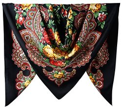 100% Silk Female Twill Square Scarf 40 Inches / Black Totem Flowers Pattern