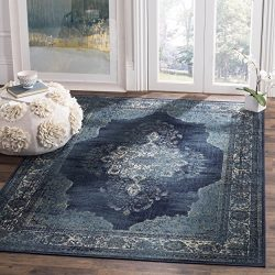 Safavieh Vintage Premium Collection VTG122-2330 Transitional Oriental Navy Distressed Silky Visc ...