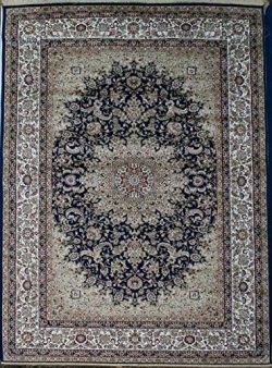 Silk silk347navy_10x13 New Traditional Isphan Ultra Low Pile Area Rug, 9′ x 12′, Navy