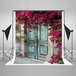 5x7ft Cotton Polyester Vintage House Blue Door Purple Flowers Party Decorations Photo Backdrop S ...