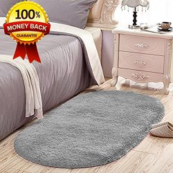 SANMU Soft Velvet Silk Rugs Simple Style Modern Oval Shaggy Carpet Fashion Bedroom Mat for Dinin ...