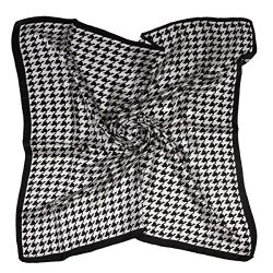 "ETSYG 32"" Silk Scarf Women's Black White Plover Pattern Large Square Satin Headscarf Headdress"