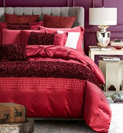 Vintage Red Duvet Cover Set Queen Luxury Washed Silk Girls Bedding Set Exquisite Pinch Pleated E ...