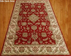 Homemusthaves Red Beige Green Orange Brown Traditional Persian Floral Faux Silk Rug Carpet (4X6)