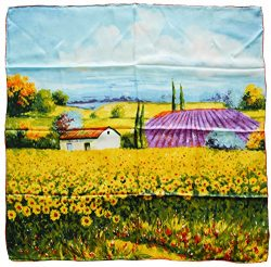 YSSP, Sunflower Field-Van Gogh's Painting, Square Elegant Luxury Fashion Silk Scarf Classi ...