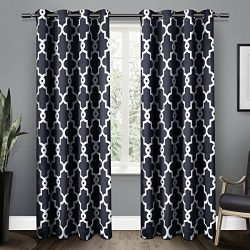 Exclusive Home Curtains Ironwork Sateen Woven Blackout Thermal Grommet Top Window Curtain Panel  ...