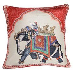 Shalinindia Digitally Printed 18 X 18 Inch Cushion Covers Set Of 2 Zipper Faux Silk Dupion-Eleph ...