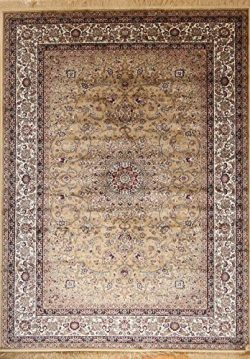 Silk silk347gold_10x16 New Traditional Isphan Ultra Low Pile Area Rug, 10′ x 16′, Gold