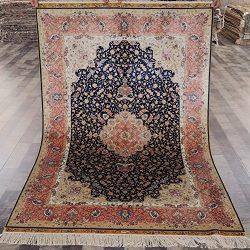 Yilong Carpet 4′ x 6′ Hand Knotted Oriental Qum Rug Handmade Silk Carpet Traditional ...